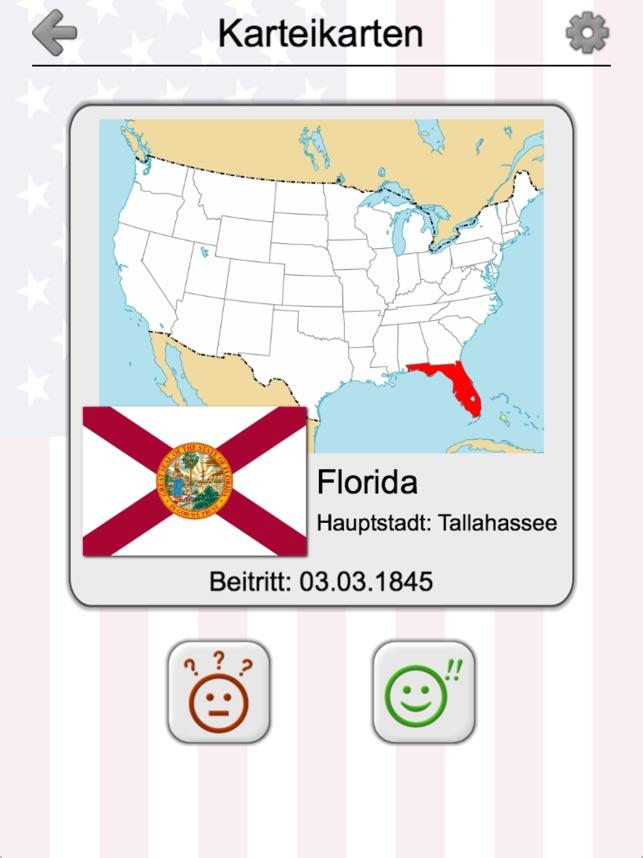 50 Bundesstaaten der USA: Quiz im App Store