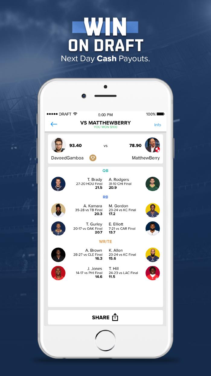 DRAFT: Daily Fantasy Football Screenshot