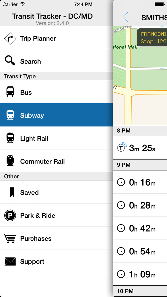 Transit Tracker - DC/Maryland Screenshot