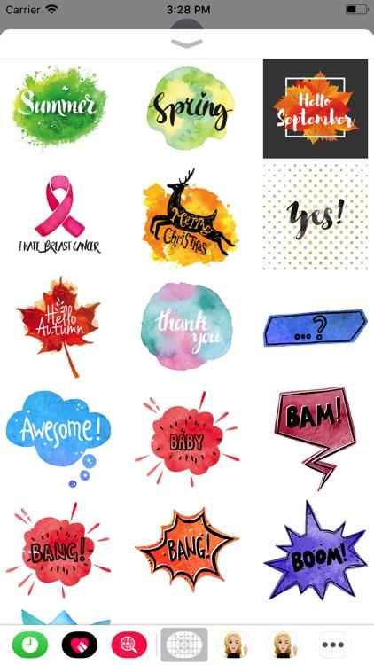 Watercolor Text Emoji Stickers screenshot-3