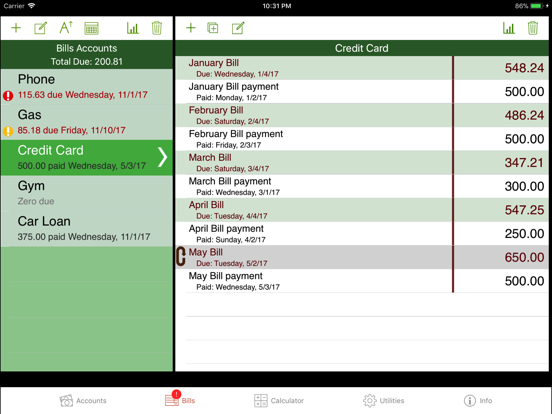 iCheckBalance for iPad screenshot three