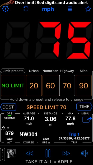 Screenshot for Speedometer 55 GPS Speed & HUD in United States App Store