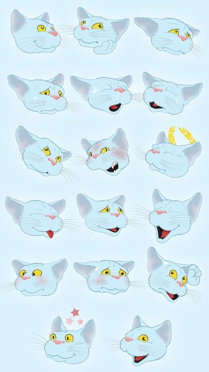 Blue Cat emoji screenshot-3