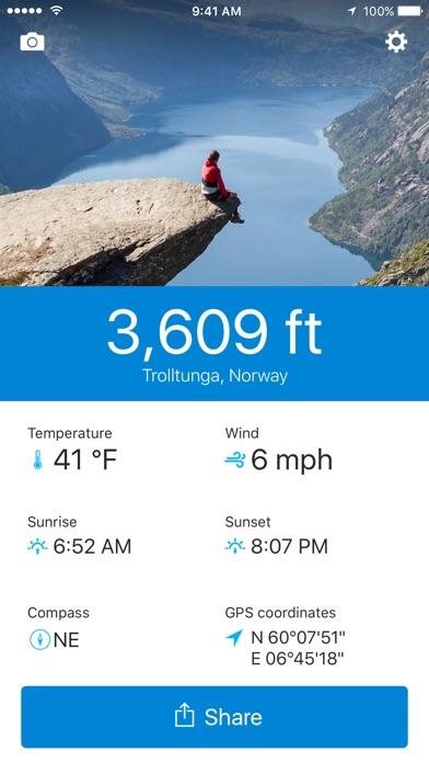 runtastic Altimeter PRO with Weather & Compass Info Screenshot 2