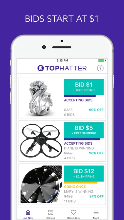 Tophatter - 90 Second Auctions