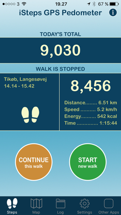 iSteps GPS Pedometer PRO screenshot one