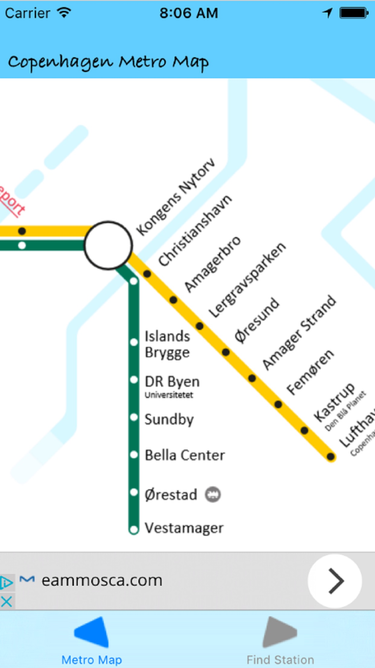 Copenhagen Metro Map Screenshot