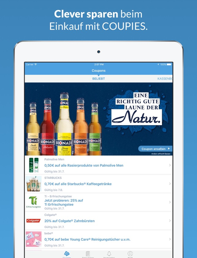 COUPIES Coupons im Supermarkt Screenshot