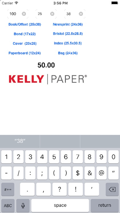 Kelly Paper M-Weight to Basis Weight Calculator