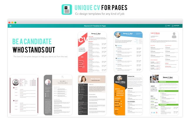 resume cv template for pages in de mac app store