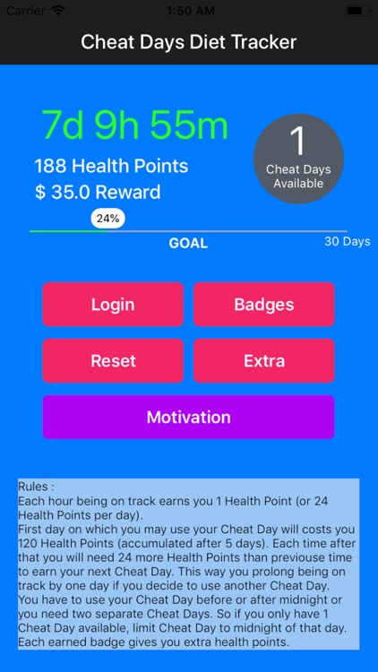Cheat Days : Diet Tracker