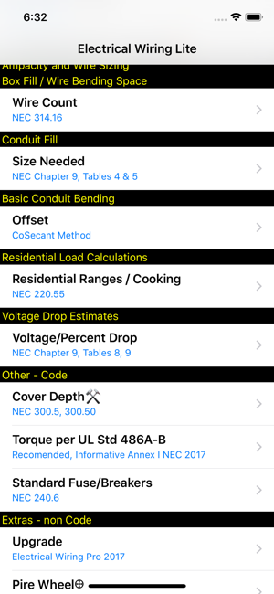 Electrical Wiring Lite en App Store on electrical j-boxes sizes, electrical box sizes, electrical fuse sizes, electrical tubing sizes, electrical pull boxes sizes, electrical cables sizes, electrical service sizes, electrical color codes, electrical wire types and sizes, electrical connector sizes, electrical conduit sizes, electrical sub panel sizes, electrical transformers sizes, electrical panel schedules, electrical panel board sizes, electrical breaker sizes, electrical conductor sizes, electrical outlet sizes, electrical fitting sizes, electrical circuits sizes,