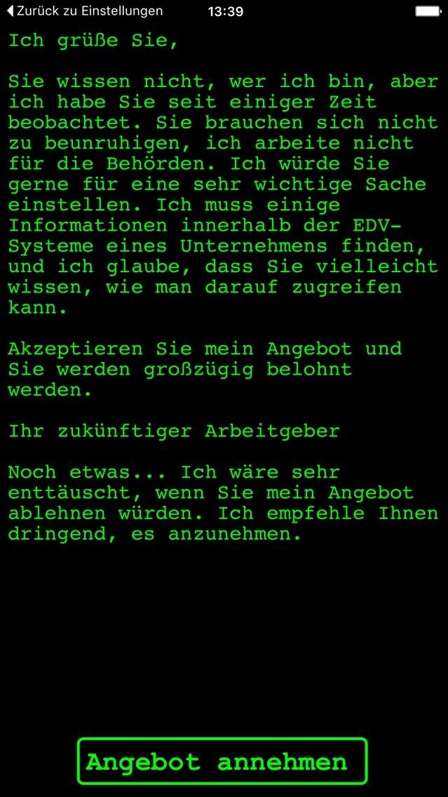 Virtueller Cyberangriff Text Game Hack Run Ios Watchos