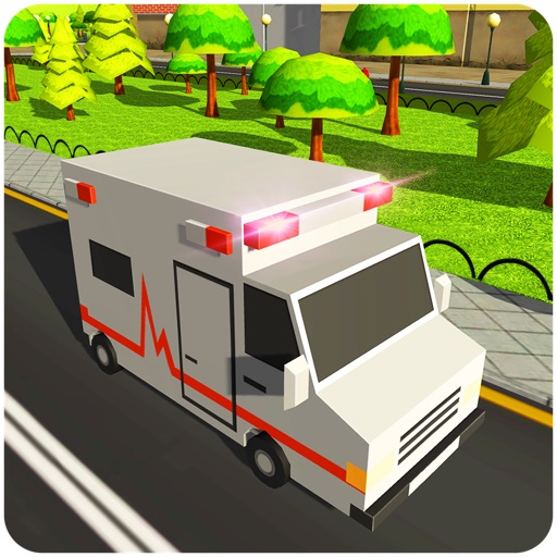 911 Blocky Ambulance Sim Game