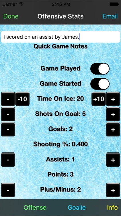 Hockey Stats Tracker Touch