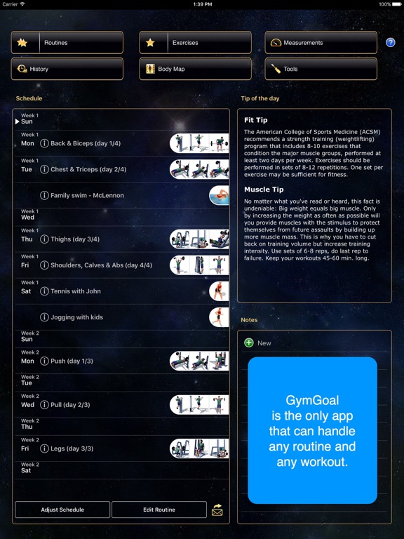Screenshot #1 for GymGoal