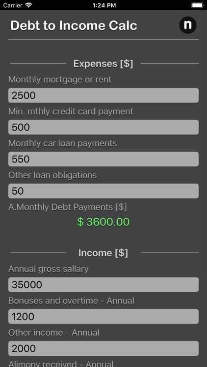Debt 2 Income Calculator