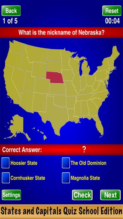 States and Capitals Quiz School Edition screenshot-3