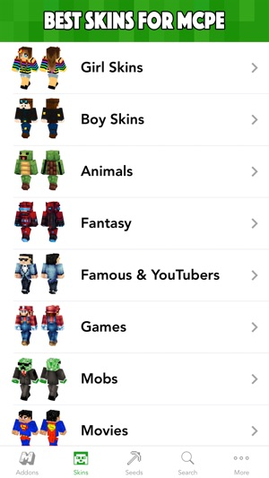 MCPE Planet Addons Maps Skins For Minecraft PE On The App Store - Skins para minecraft pe ipad