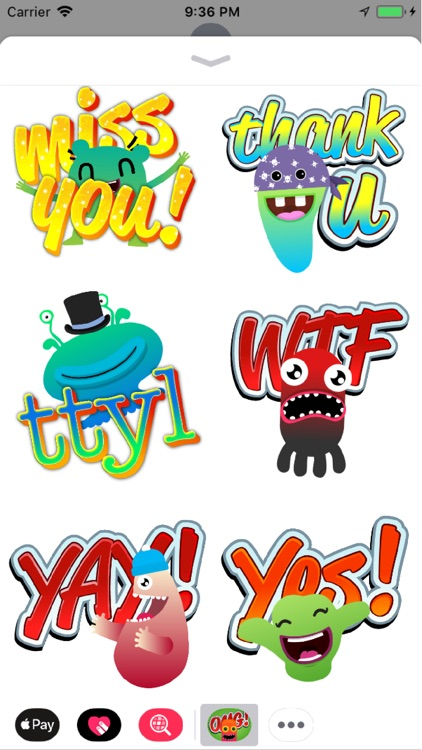 Cute Monsters Sticker Messages