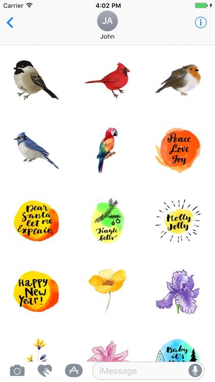 Watercolor Birds Stickers screenshot-3