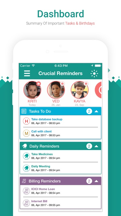 Crucial Reminders App