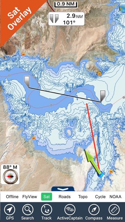 Lake Mead map GPS offline fishing charts Navigator screenshot-3
