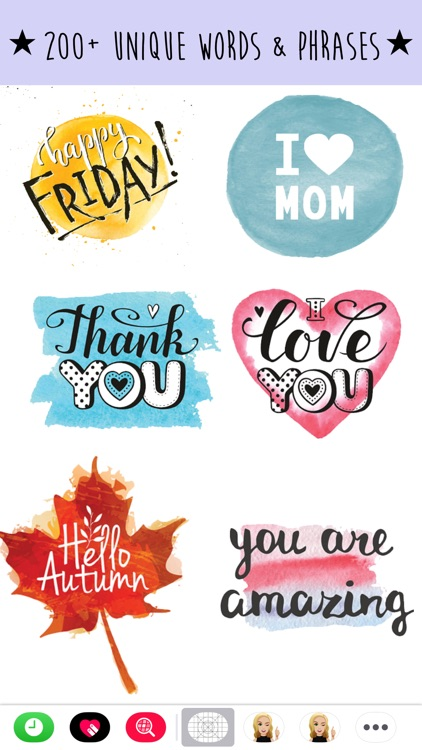 Watercolor Text Emoji Stickers screenshot-1