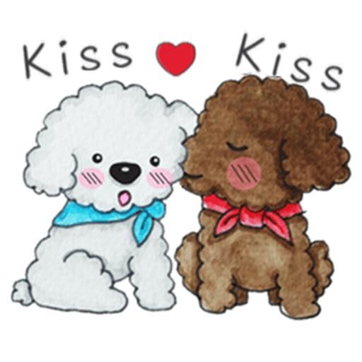 Love and Poodle Dogs Watercolor Sticker
