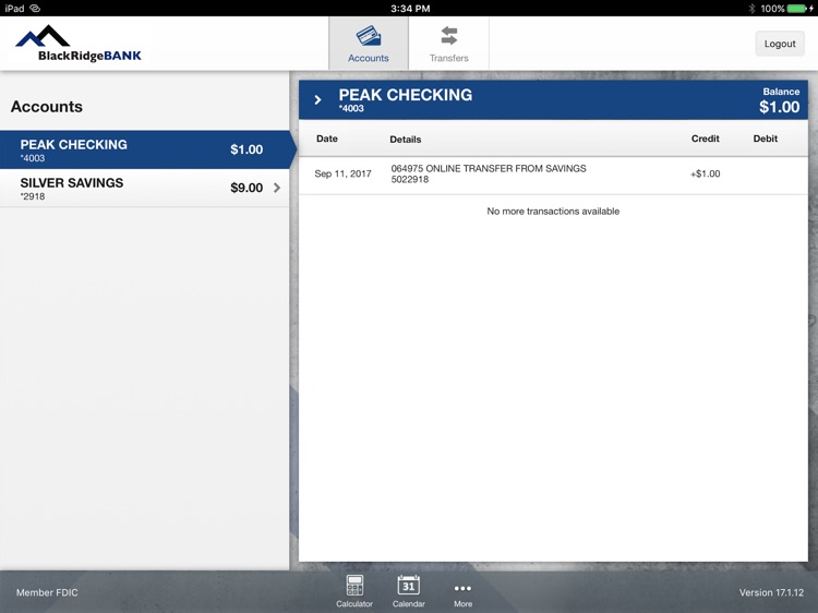 BlackRidgeBANK App for iPad