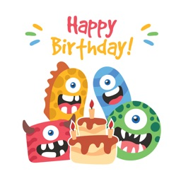 Birthdaye Card - Best Wishes with Cute Monsters