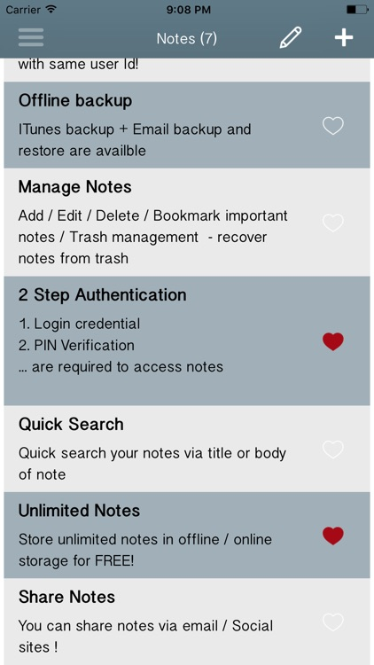 Private Notes-Note Locker-List
