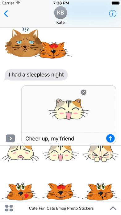 Cute Fun Cats Emoji Photo Stickers screenshot four