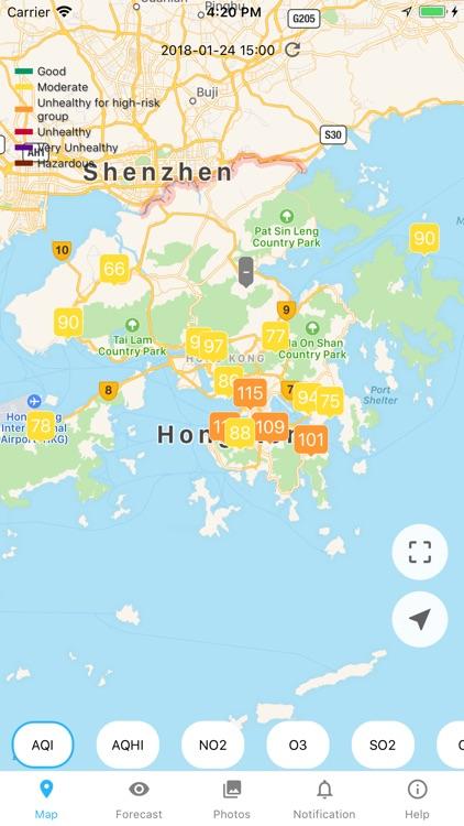 Hong Kong Air Quality AQI/AQHI