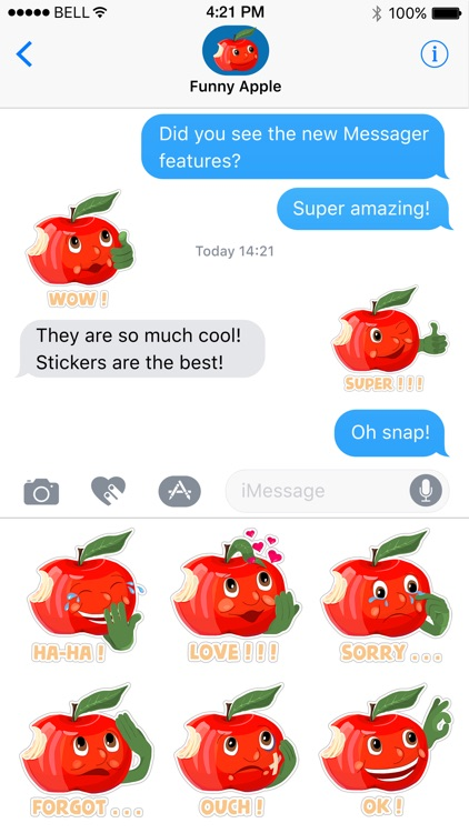 Funny Red Apple Stickers