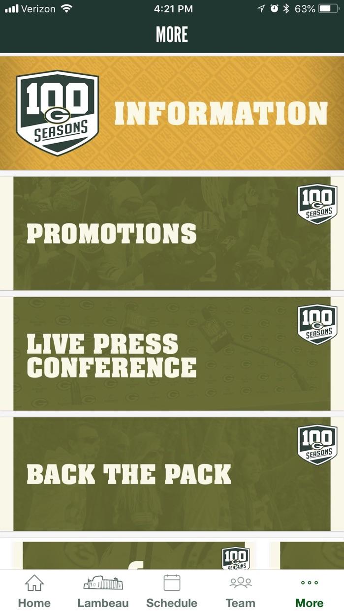 Official Green Bay Packers Screenshot
