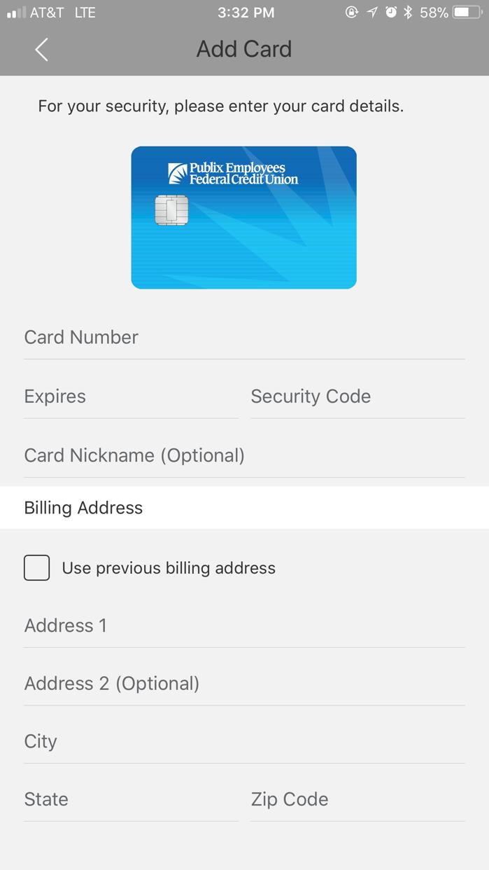 PEFCU Cards Screenshot