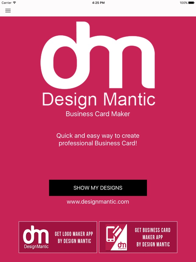 Easy Business Card Maker DesignMantic On The App Store - Business card template app