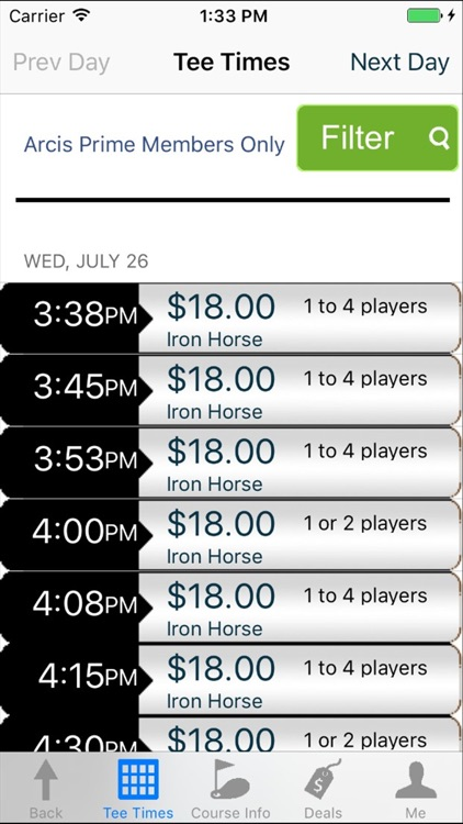 Arcis Prime Players Golf Tee Times - Dallas