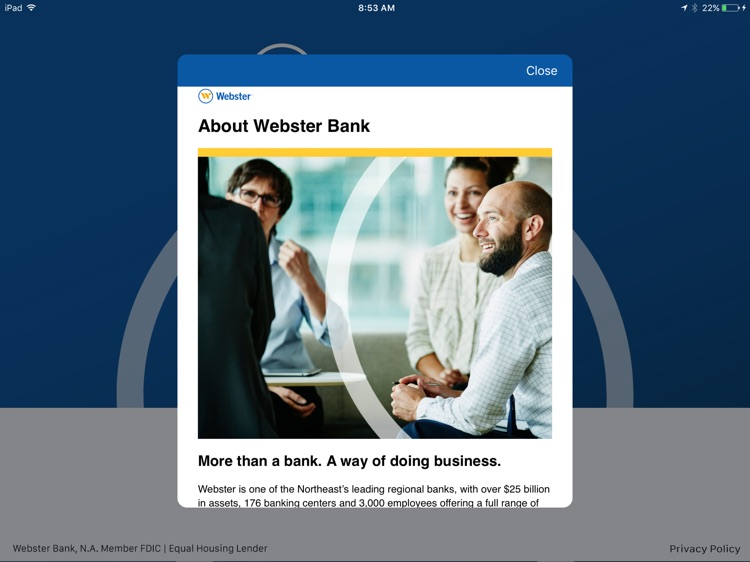 Webster Bank Mobile for iPad