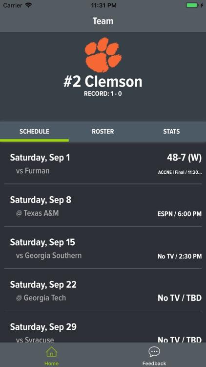 Clemson Football Schedules