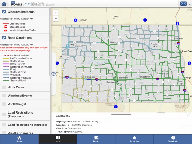 North Dakota Road Conditions Map NDRoads on the App Store North Dakota Road Conditions Map