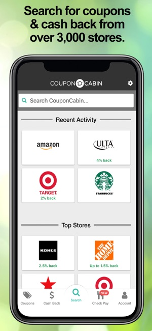 couponcabin cash back deals on the app store