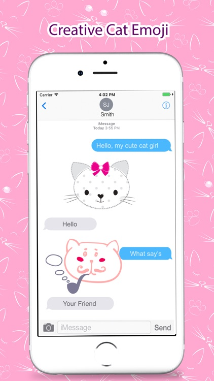 Cute Cat Pink Stickers Pack for iMessage screenshot-4