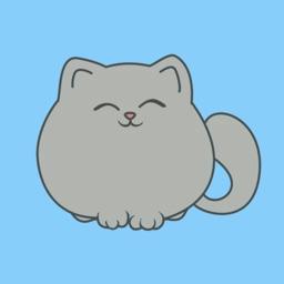 Circle Grey Kitty Stickers