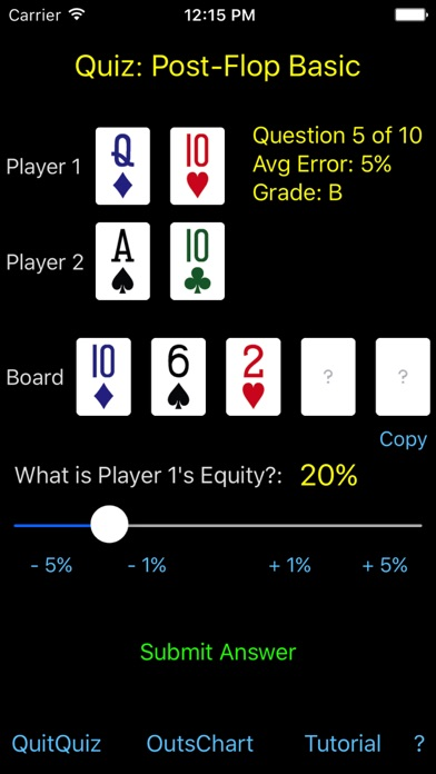 Hold'em Odds Quizzer screenshot two