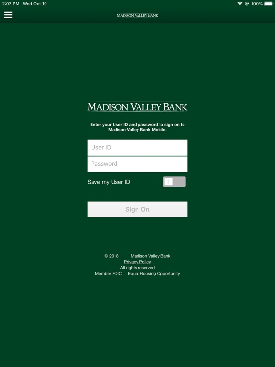 Madison Valley Bank for iPad