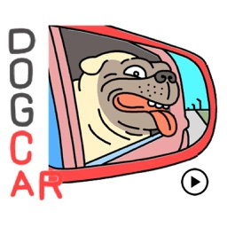 Animated Dog In a Car Sticker