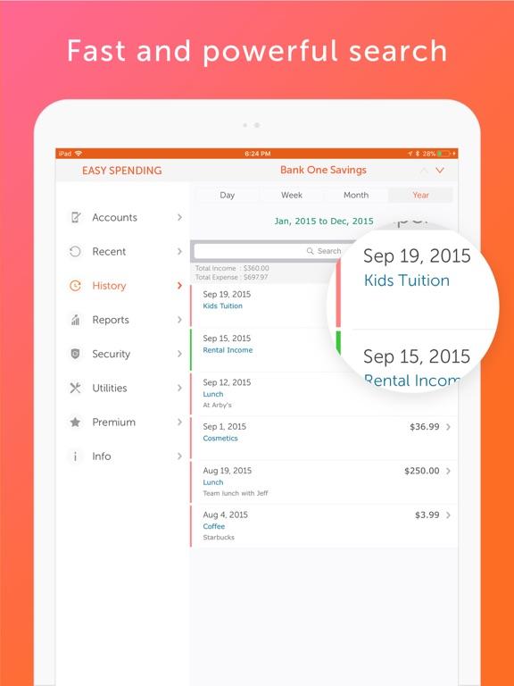 Easy Spending, Expense tracker Screenshots