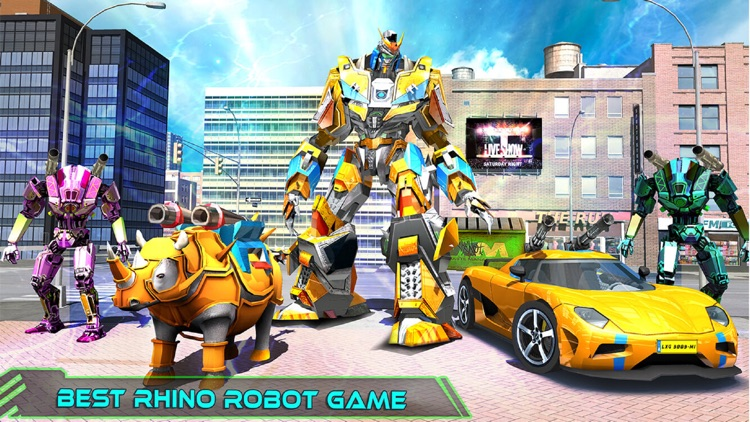 Rhino Robot War Car Transform screenshot-5